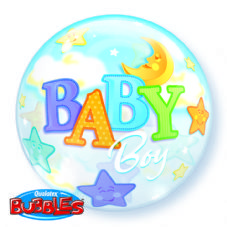 Baby Boy Moon & Stars Bubble Balloon